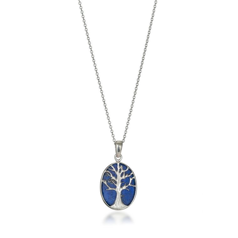 Tree of Life Oval Natural Lapis Lazuli Necklace