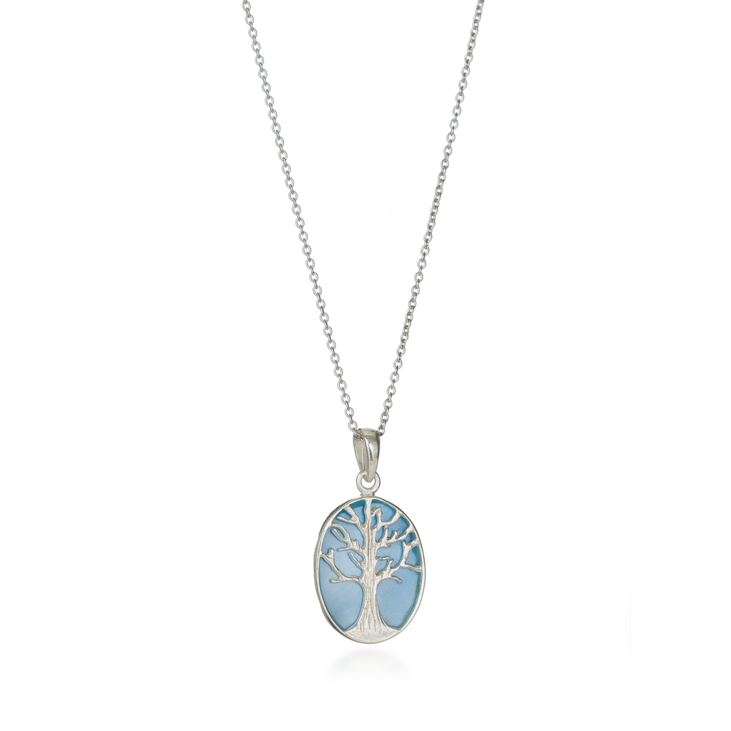 Tree of Life Oval Mother of White Pearl Necklace