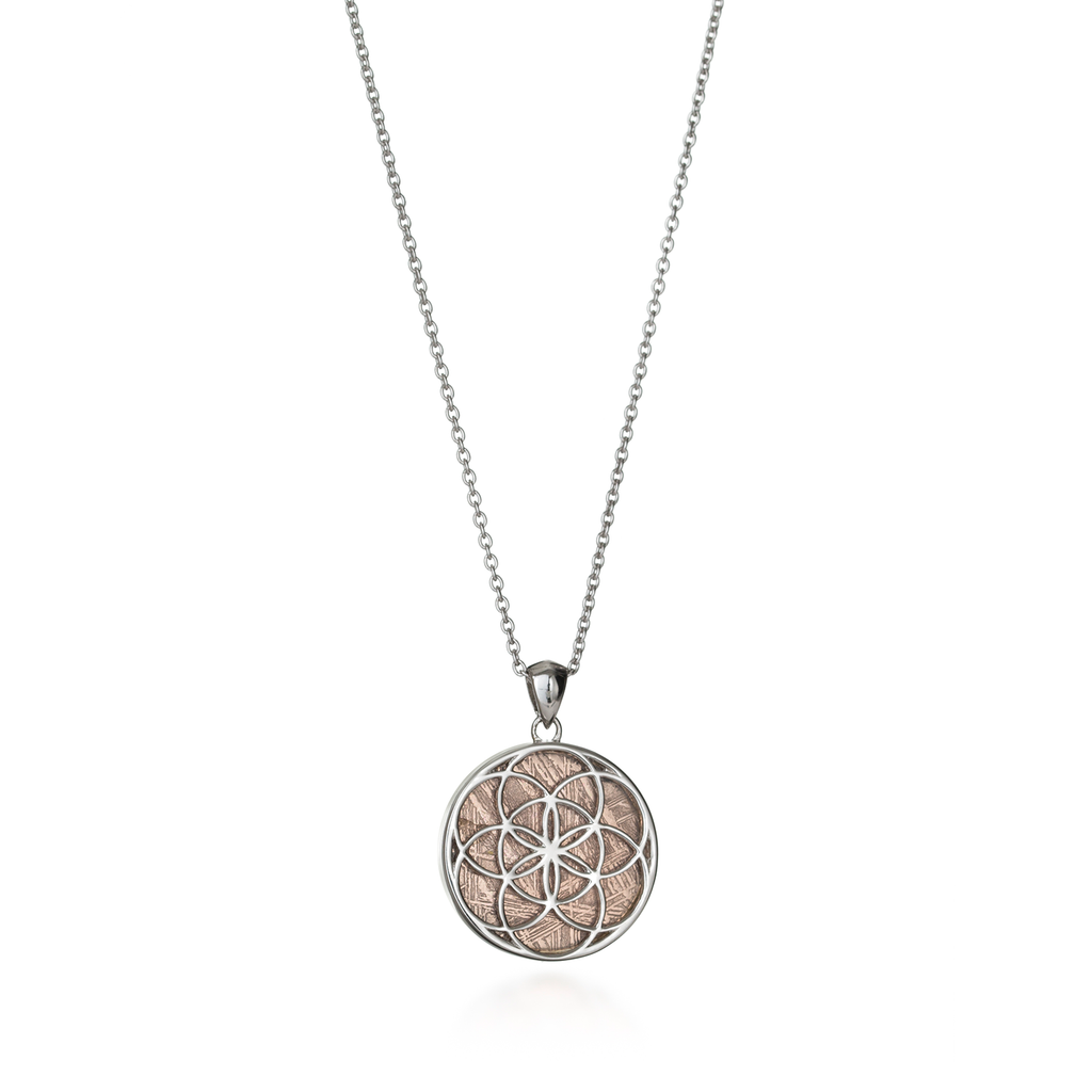 Seed of Life Rose Gold Meteorite Necklace