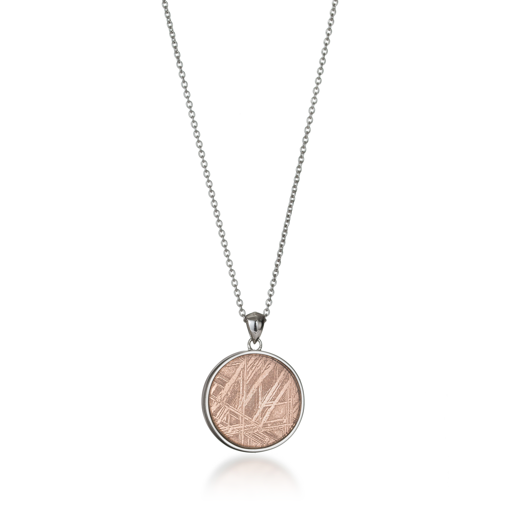 Seed of Life Rose Gold Meteorite Necklace Back