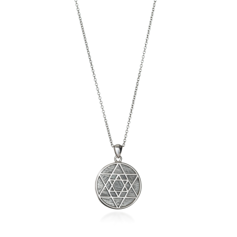 Meteorite Double Star of David Necklace