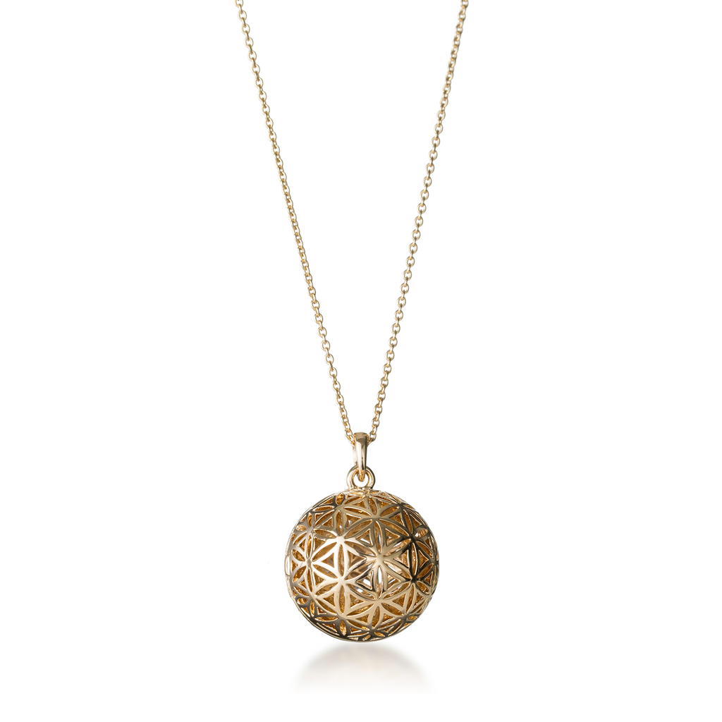 Flower Of Life Yellow Gold Globe Locket Necklace
