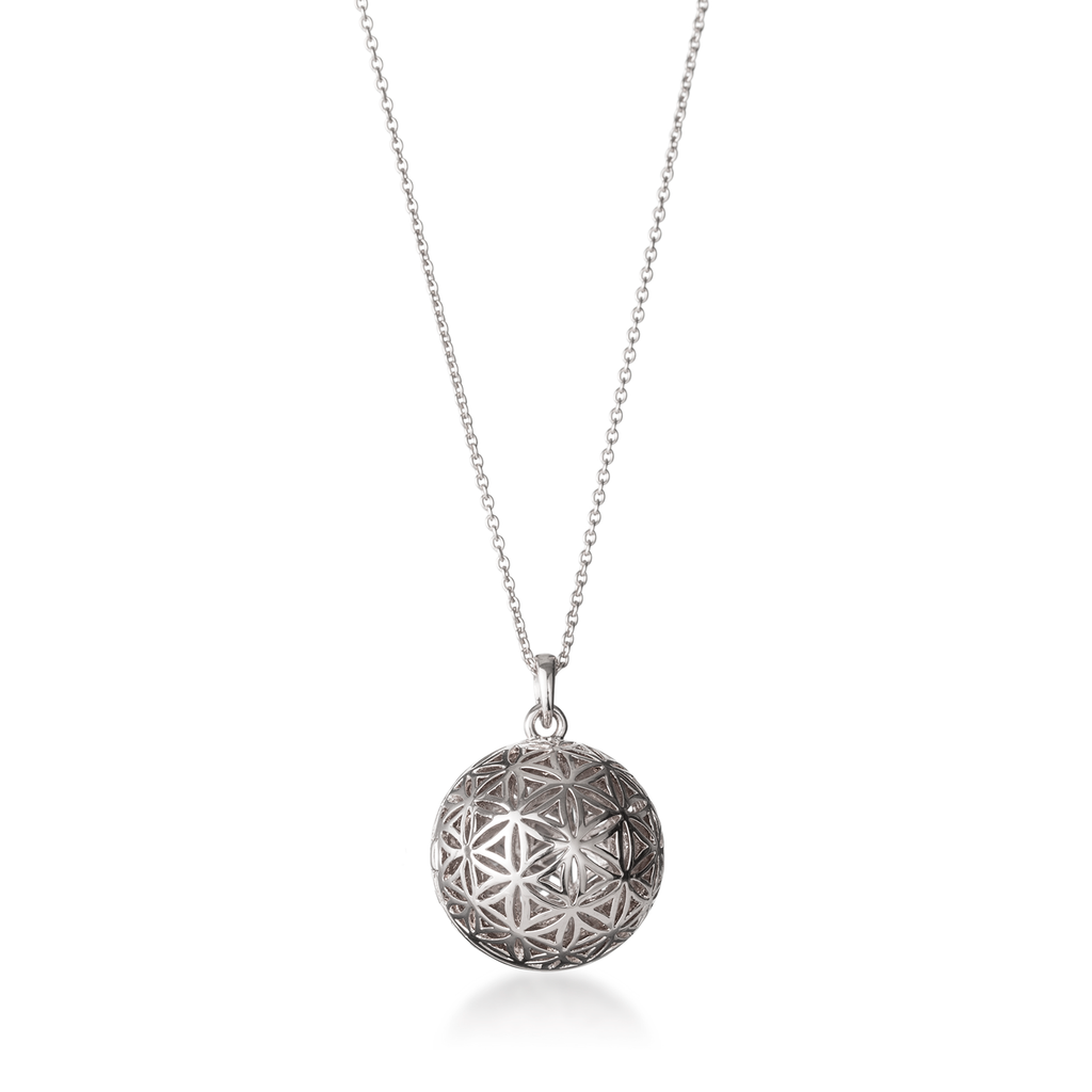 Flower Of Life Silver Globe Locket Necklace