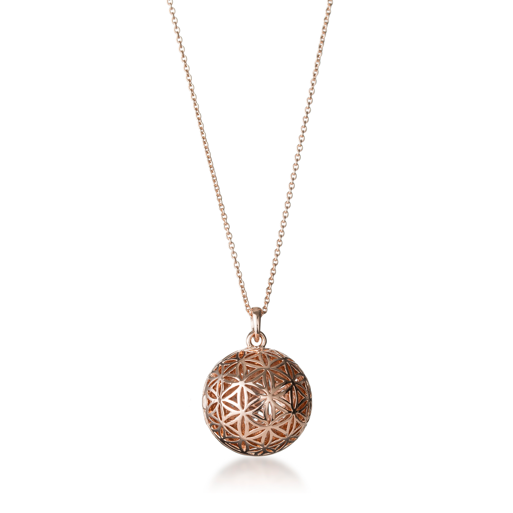 Flower Of Life Rose Gold Globe Locket Necklace