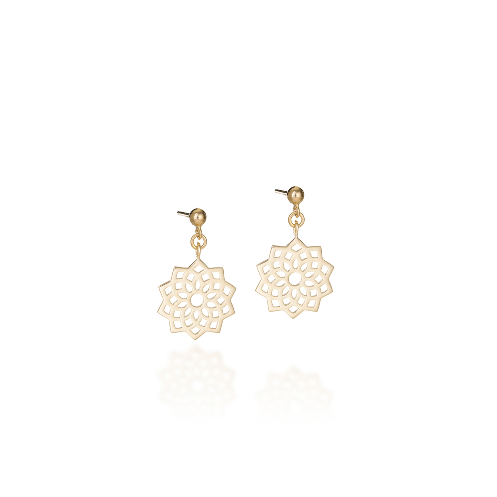 Crown Chakra Yellow Gold Earrings