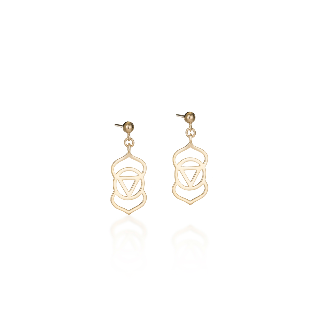 Brow Chakra Yellow Gold Earrings