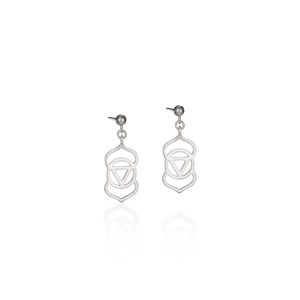 Brow Chakra Silver Earrings