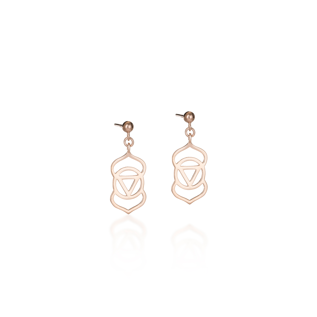 Brow Chakra Rose Gold Earrings