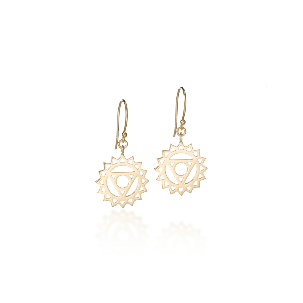 Throat Chakra Yellow Gold Dangle Earrings