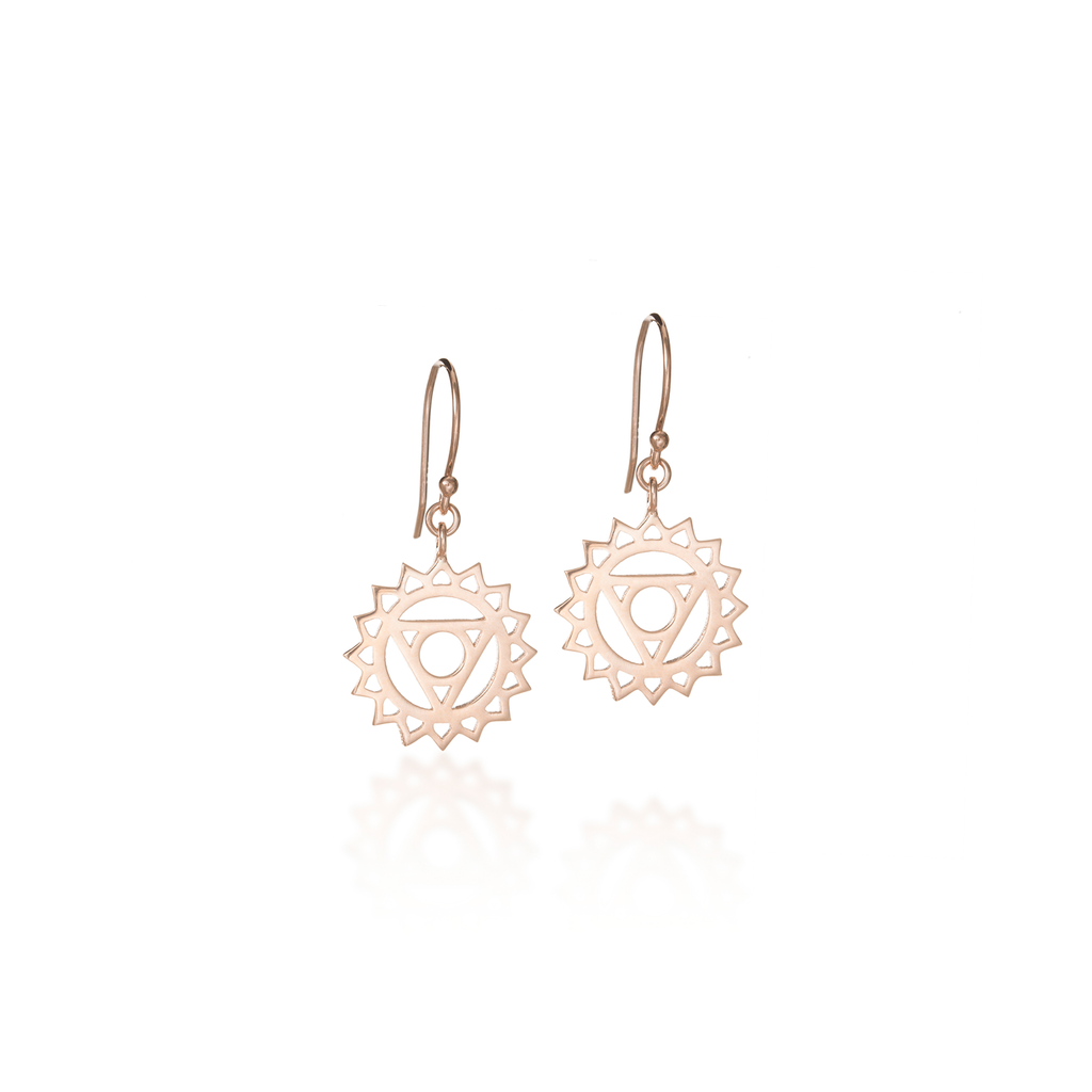 Throat Chakra Rose Gold Dangle Earrings