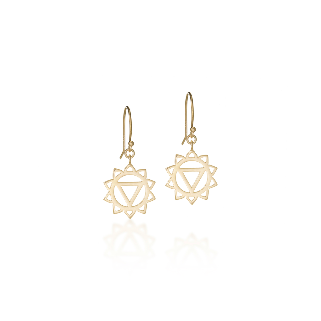 Solar Plexus Chakra Yellow Gold Dangle Earrings