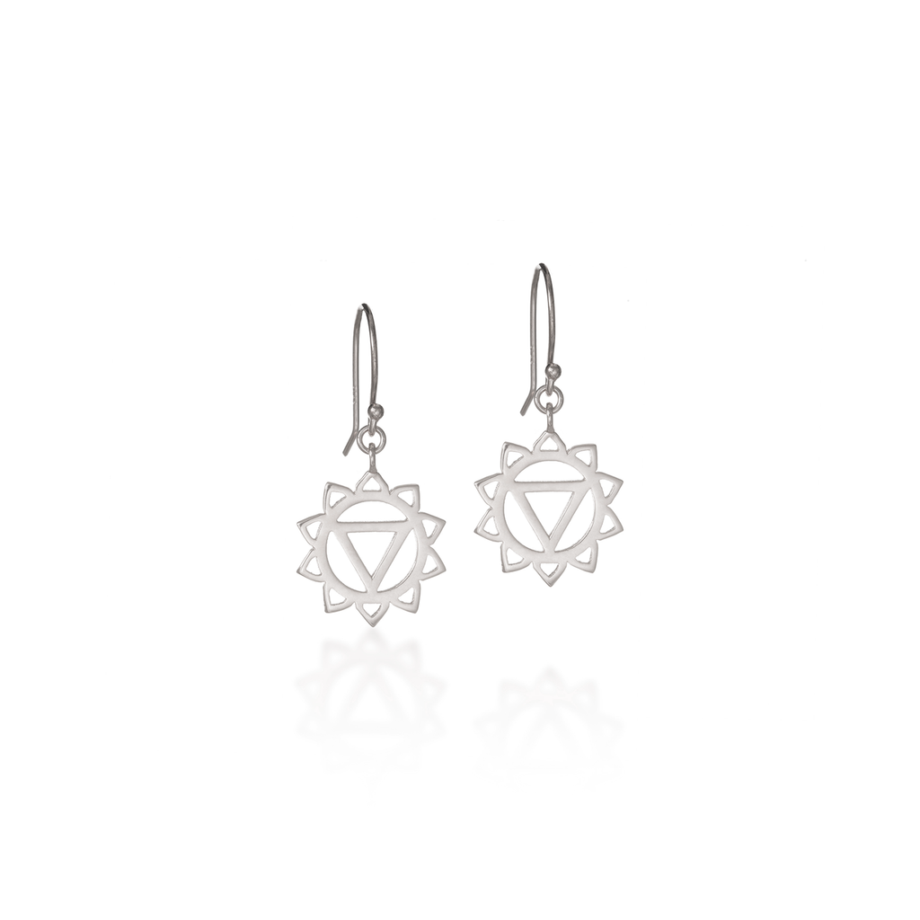 Solar Plexus Chakra Silver Dangle Earrings