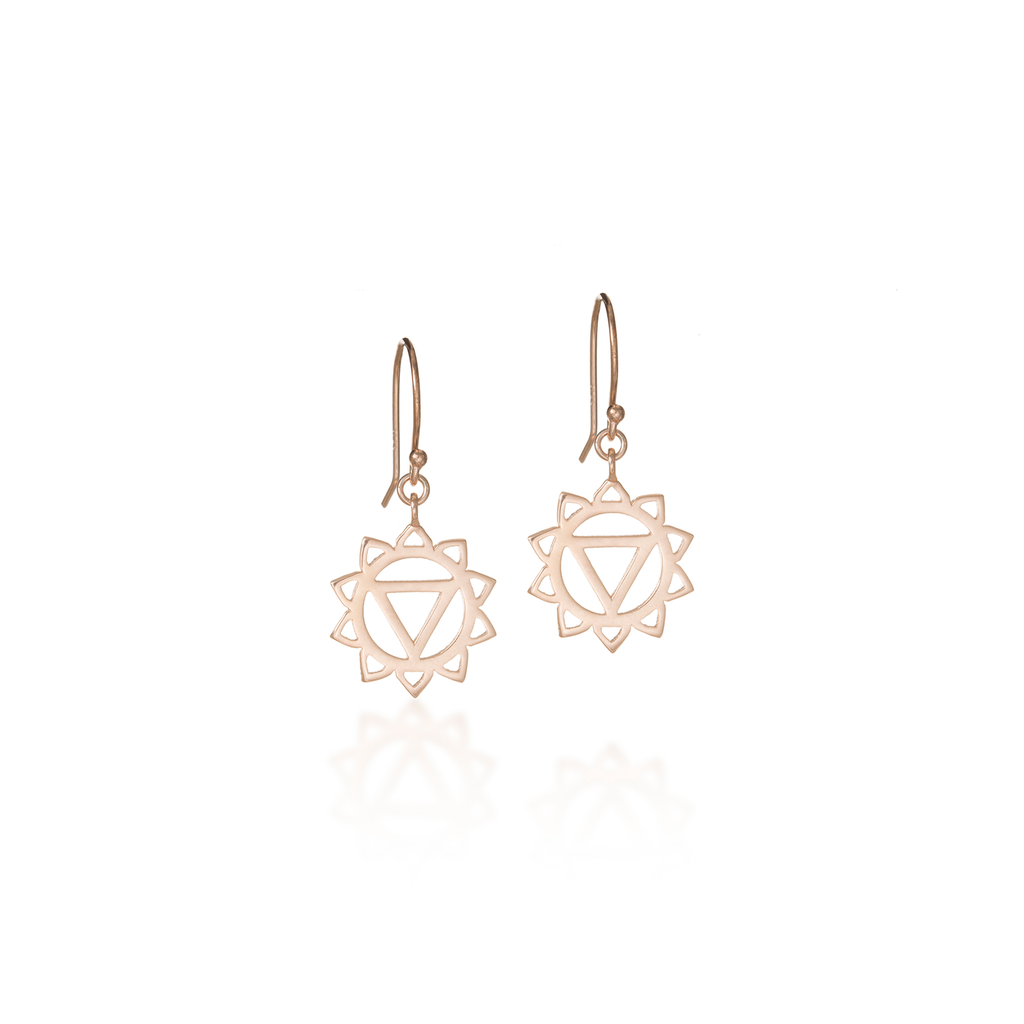 Solar Plexus Chakra Rose Gold Dangle Earrings