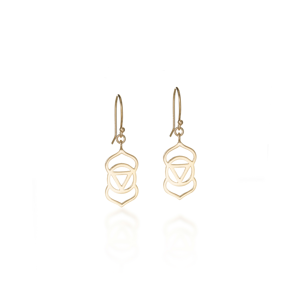 Brow Chakra Yellow Gold Dangle Earrings