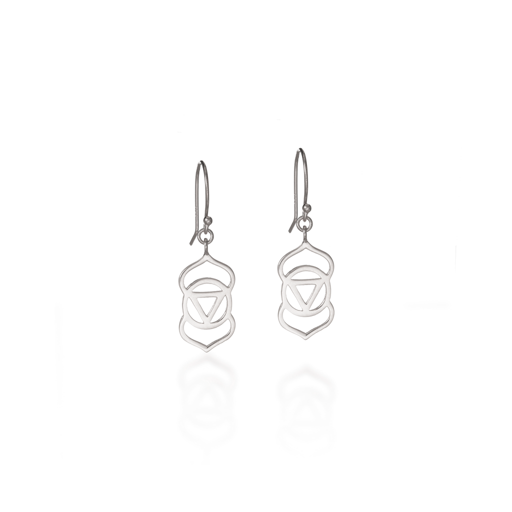 Brow Chakra Silver Dangle Earrings
