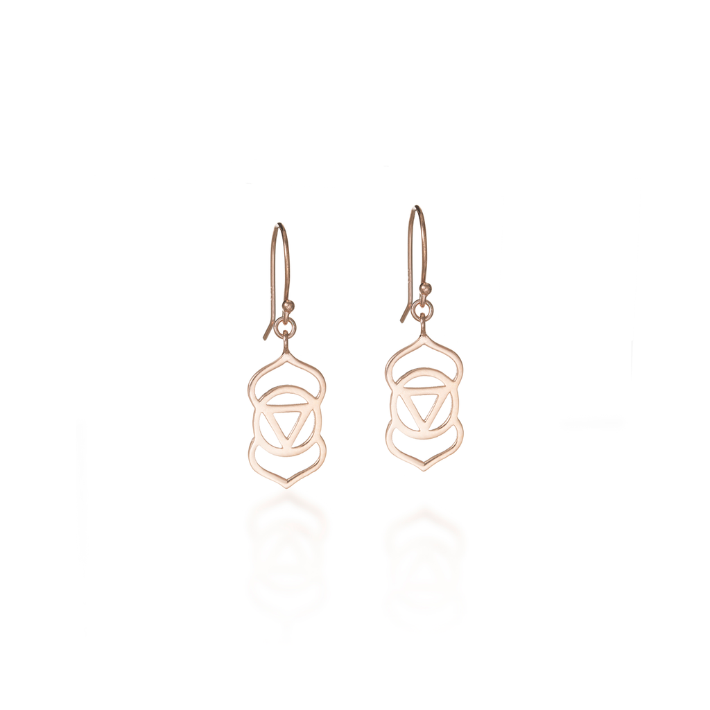 Brow Chakra Rose Gold Dangle Earrings