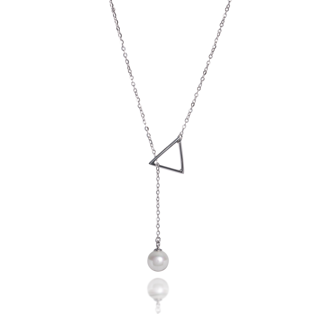 Triangle Dangling Pearl Necklace