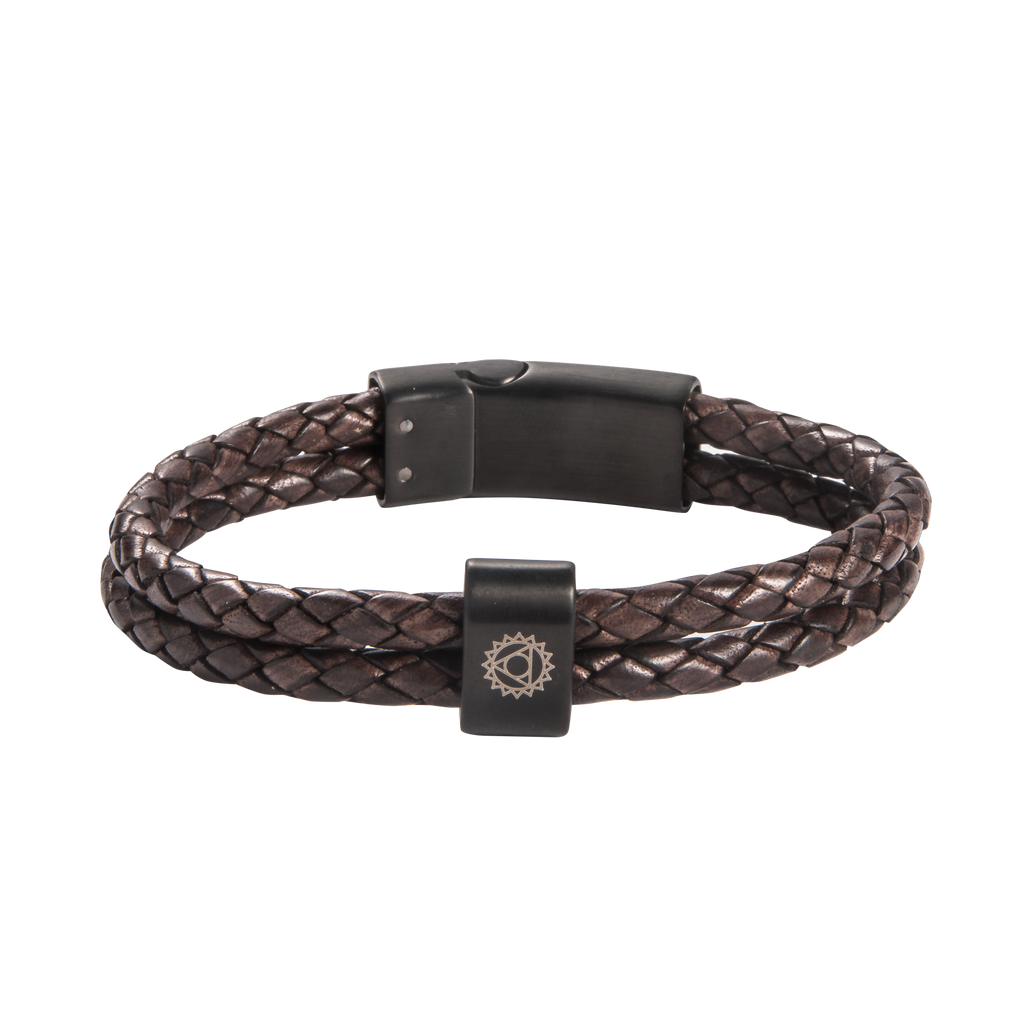 Throat Chakra Double Leather Bracelet