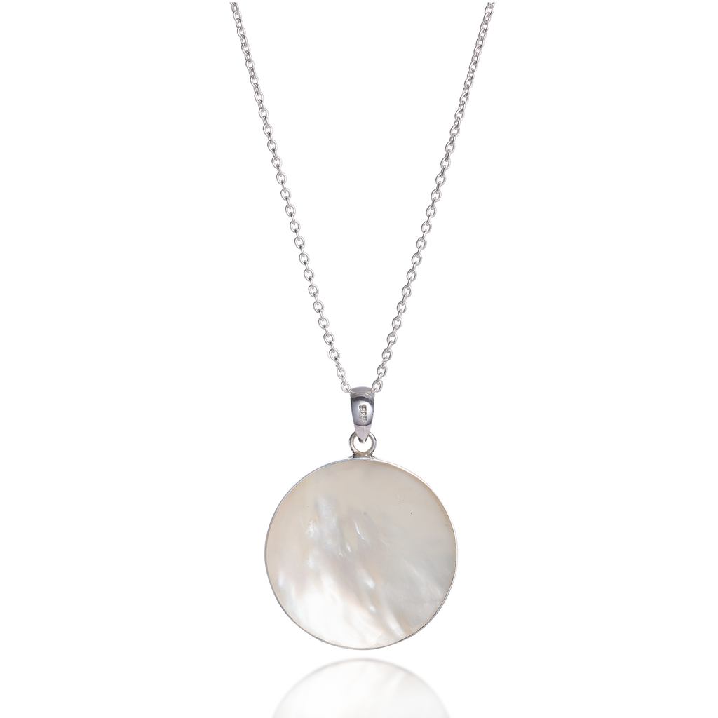 Om White Mother of Pearl Necklace