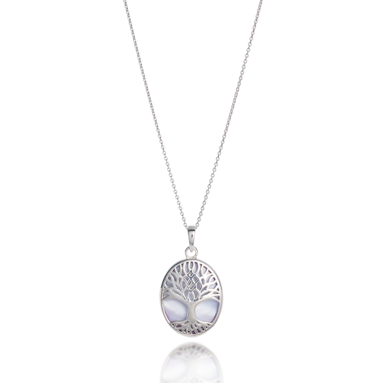 Tree of Life Abundant Oval White Mother of Pearl Necklace