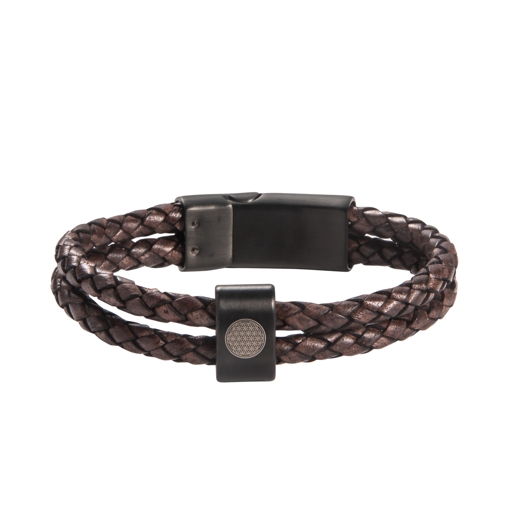 Flower Of Life Double Leather Bracelet