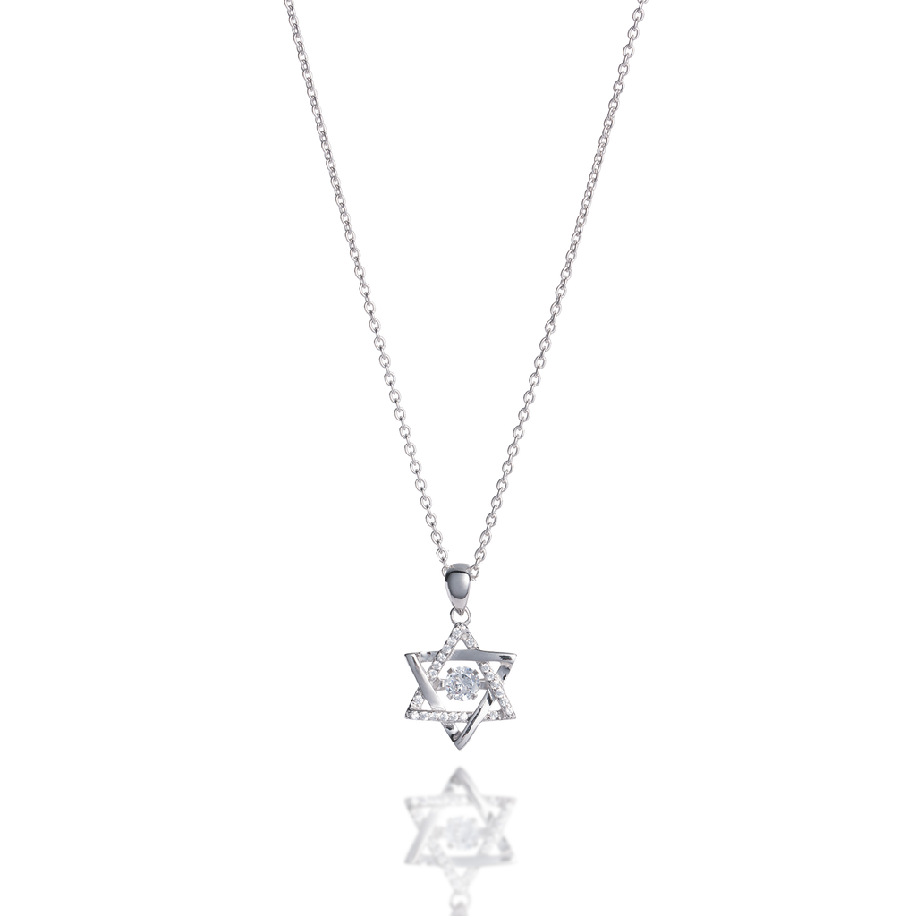Star of David Dancing Stone Necklace