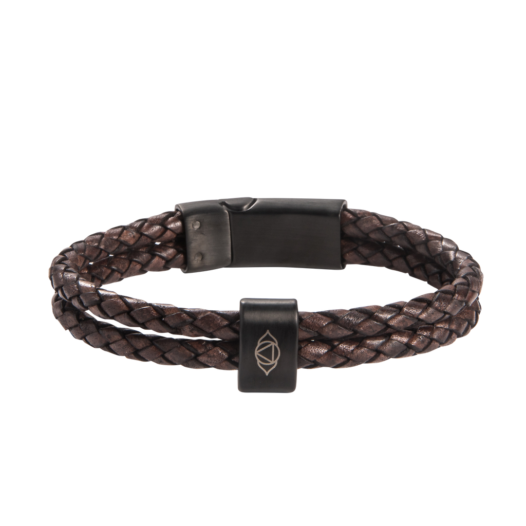 Brow Chakra Double Leather Bracelet