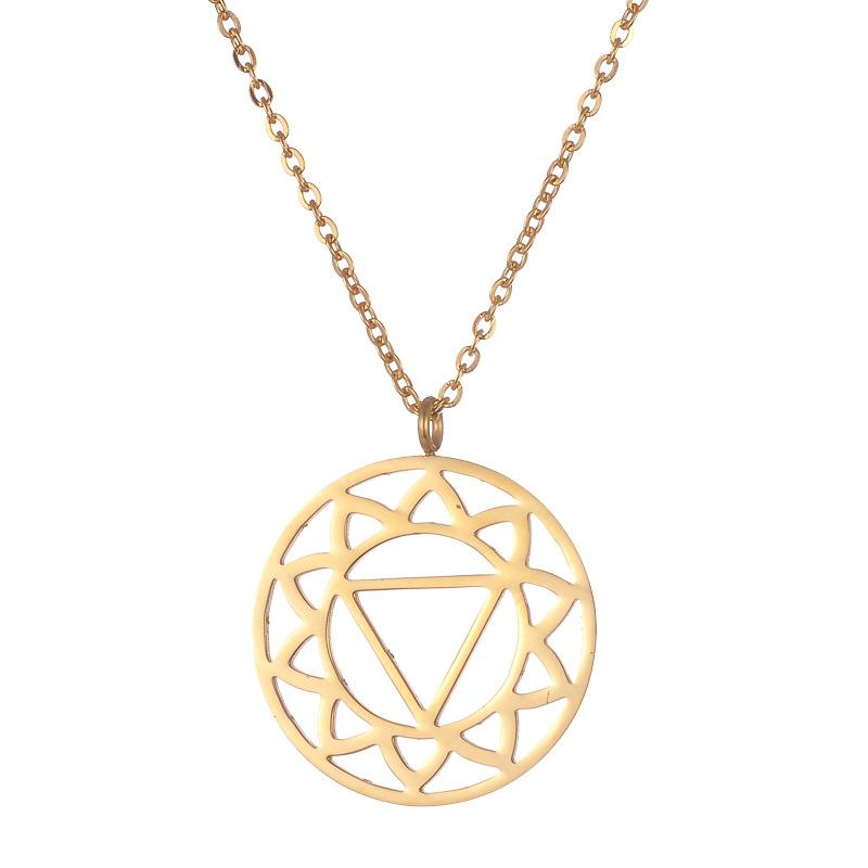 Solar Plexus Chakra Rose Gold Stainless Steel Necklace