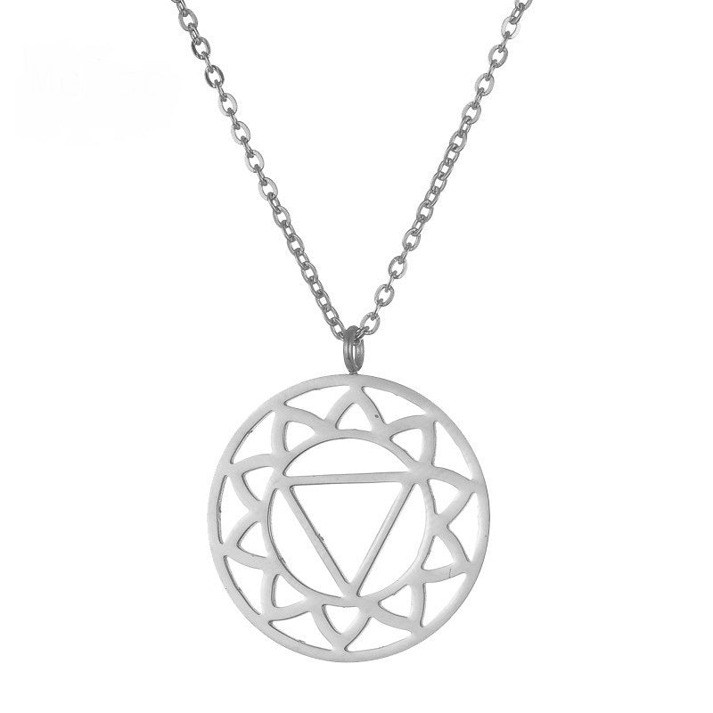 Solar Plexus Chakra Silver Stainless Steel Necklace