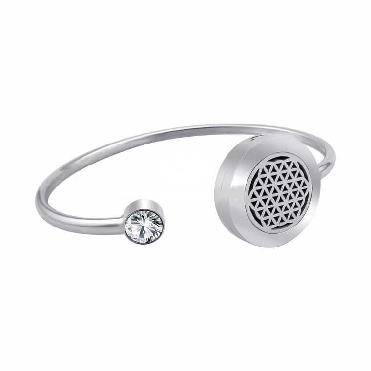 Flower of Life Aroma Diffuser Bangle with CZ Stone