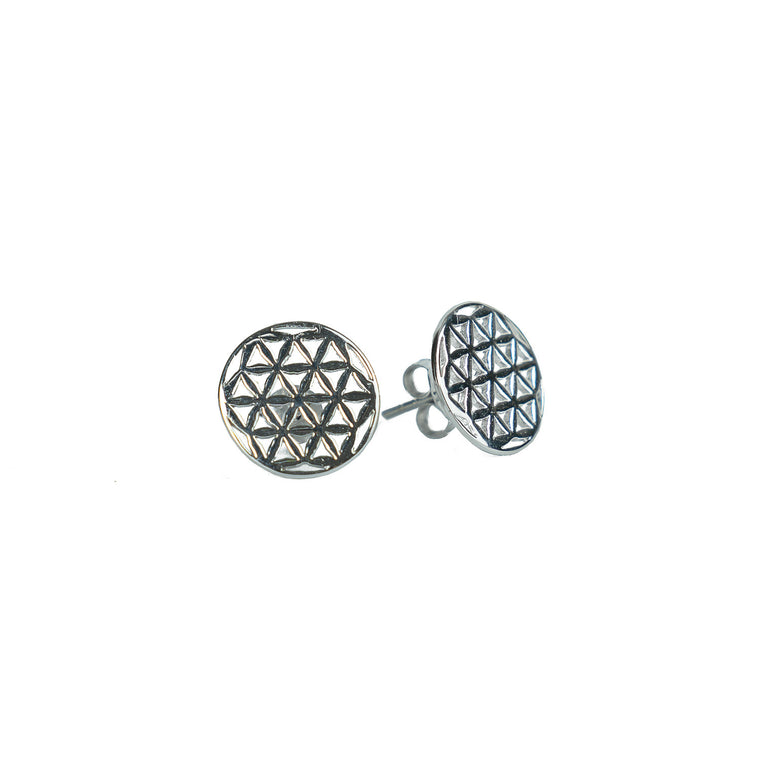 Flower of Life Circle Stud Earrings