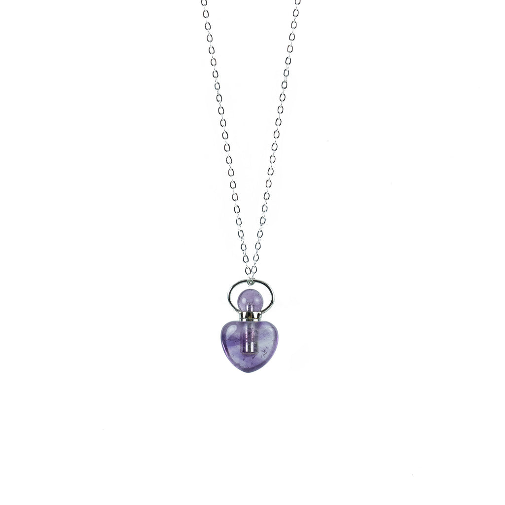 Amethyst Heart Shape Essential Oil Diffuser Necklace