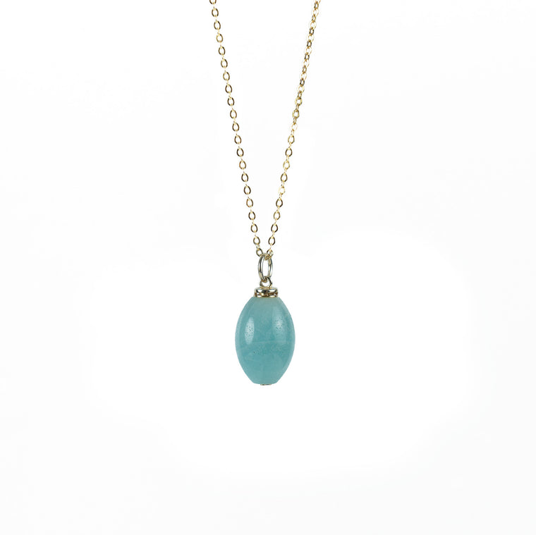 Amazonite Olive Shape Essential Oil Diffuser Necklace