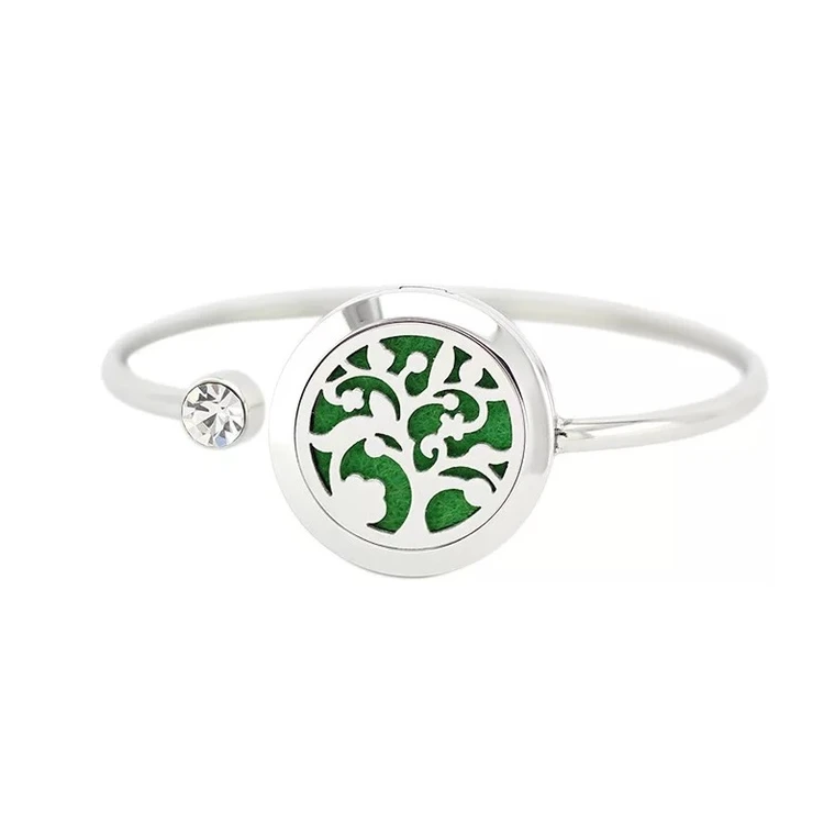 Tree of Life Aroma Diffuser Bangle with CZ Stone