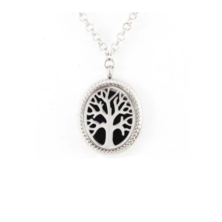 Tree of Life Oval Aroma Diffuser Necklace