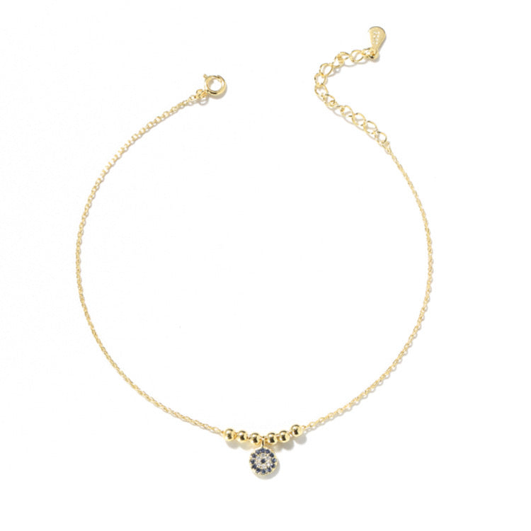 Classic Evil Eye Anklet with Cubic Zirconia Stones