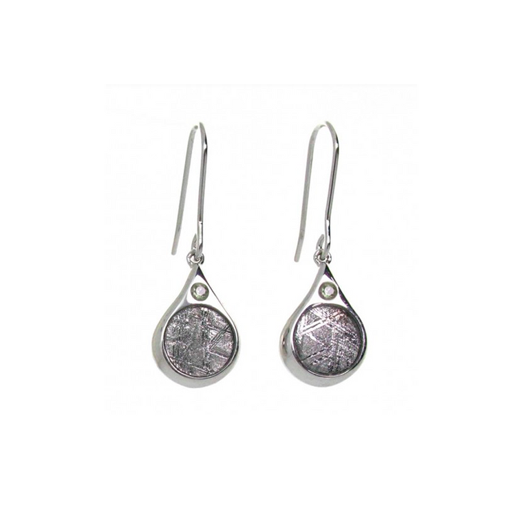 'Iris' Meteorite and Moldavite Earrings