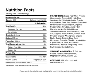NUTRITION LABEL<br>600 calorie meal