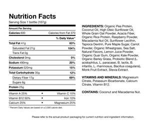 NUTRITION LABEL-600 calorie meal