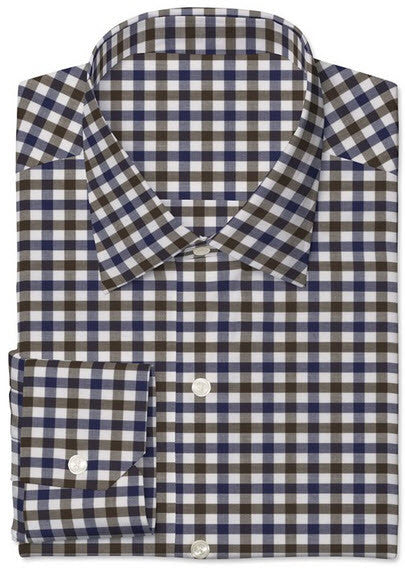 Navy / Brown / White Gingham