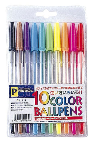 Ballpens 10 colour set