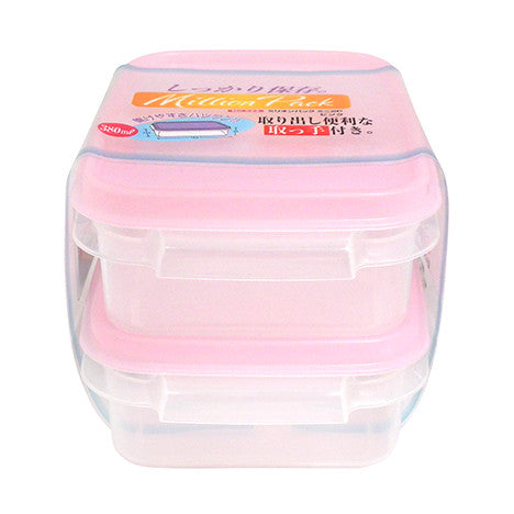 Container with lid 2pc set M PINK