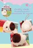 Cute Fluffy Pomeranian charm plush chocolate and cream