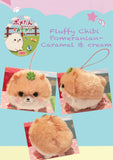 Cute Fluffy Pomeranian charm plush caramel and cream