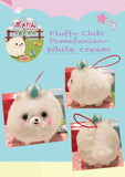 Cute Fluffy Pomeranian charm plush white cream