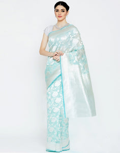 Sea Green Kora Banarasi Saree