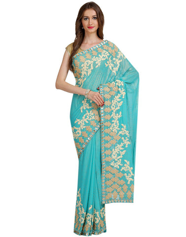 Embroidered Shimmer Georgette Saree By Meena Bazaar
