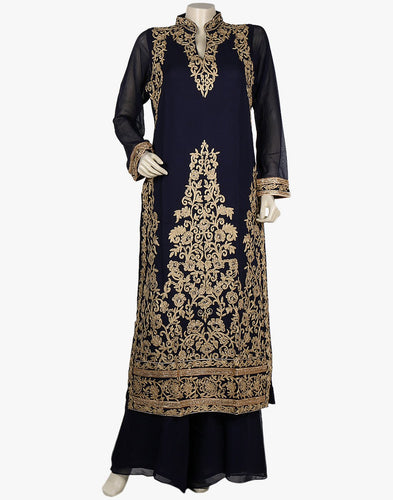 Embroidered Palazzo Suit In Georgette With Zari Thread Embroidery Meena Bazaar