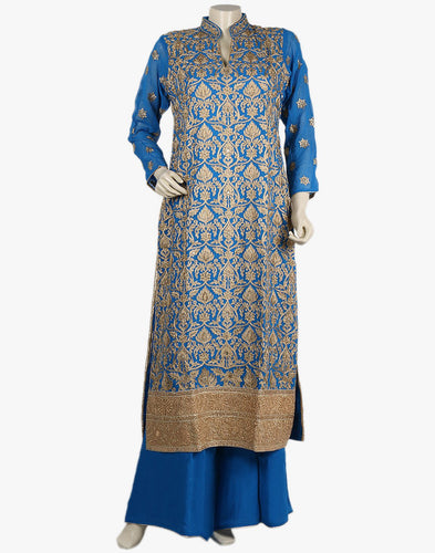 Georgette Suit With All-over Zari Thread Embroidered Jaal By Meena Bazaar