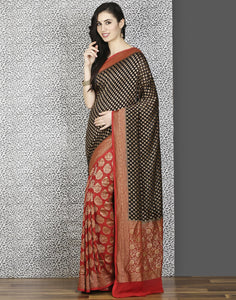 Meena Bazaar:  Banarsi khaadi silk saree in Black-maroon colour